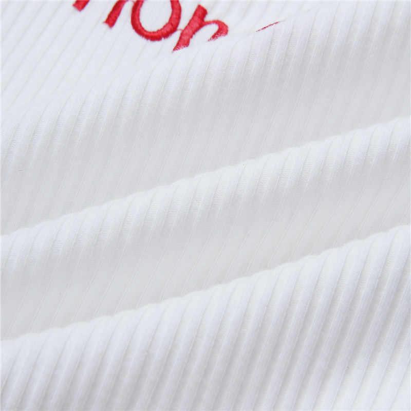 女性蜂蜜手紙ストラップタンクトップ 2019 女性スリップ作物トップスセクシーなキャミソールクラブキャミソール白赤女性ショートタイトシャツ