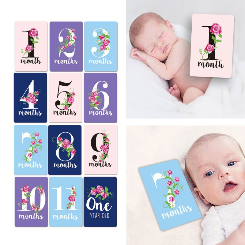 12 Pcs Baby Milestone Photo Cards - 12 PCs Photo Cards To Capture Your Baby's First Year Memorable Moments Newborn Photo Props