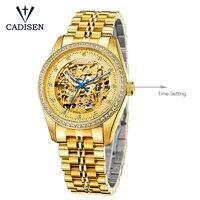 Cadisen 8105 Relógios de Ouro Homens Esqueleto Relógio Mecânico Relógio de Aço Inoxidável Top de Luxo Homem escavar Relógio de Pulso Montre Homme|Relógios mecânicos| |  -