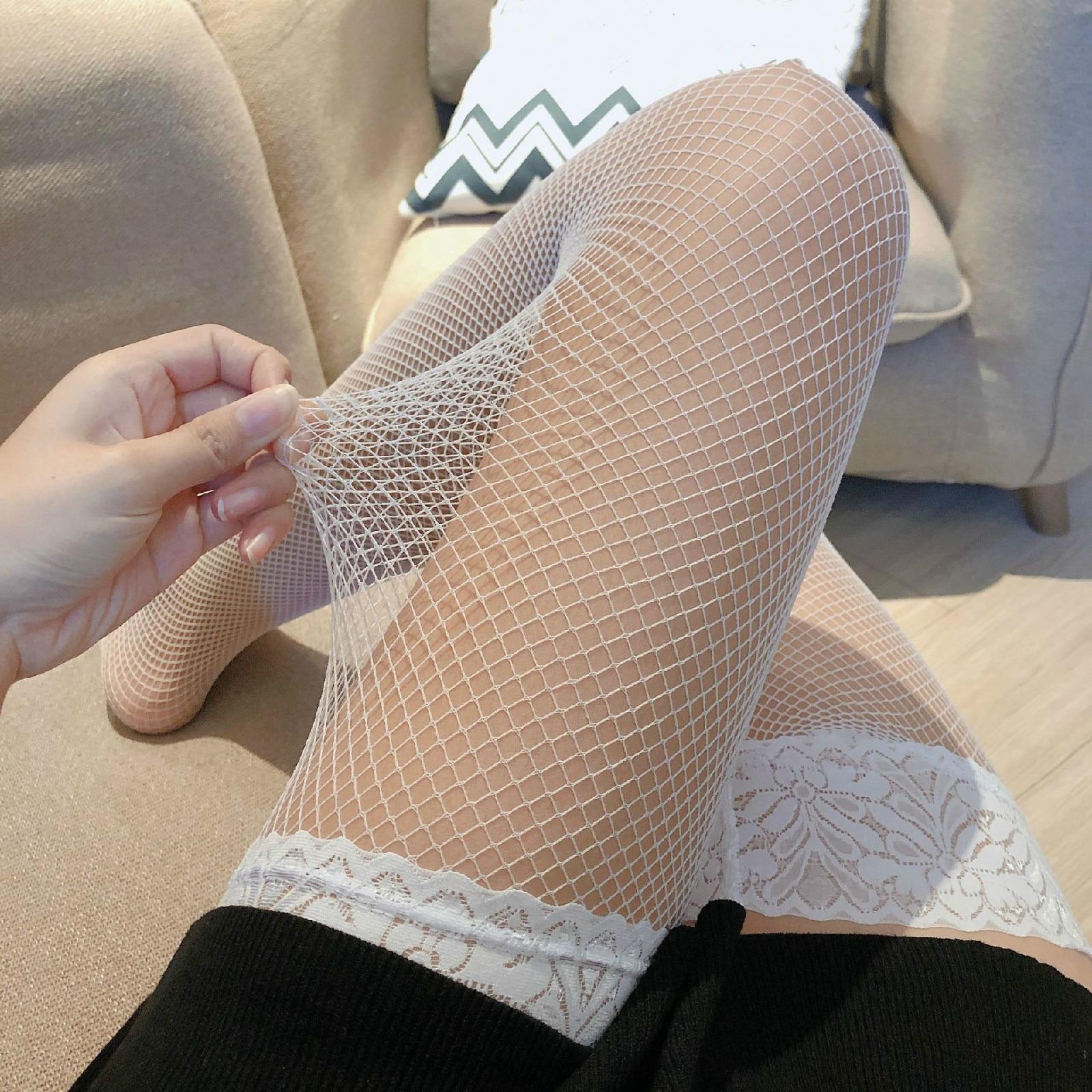 1 par branco meias moda feminina mais longo coxa alta meia pequena malha médica meias adulto mulher senhora presente da esposa nova chegada