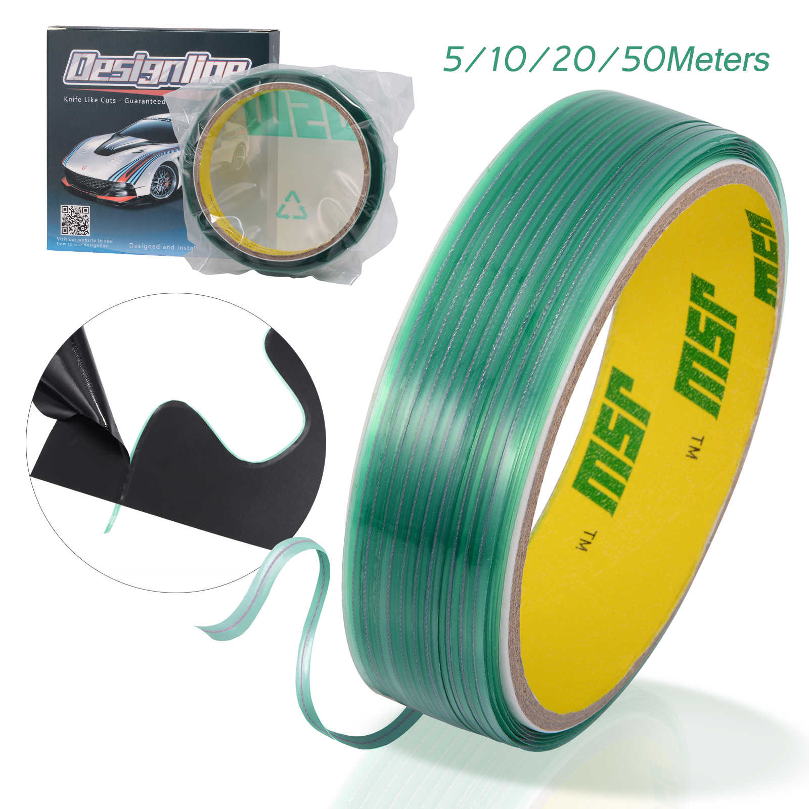 Ehdis 5/10/20/50 M Knifeless Tape Ontwerp Lijn Auto Wrap Vinyl Film Sticker Snijden Tape window Tint Decals Cutter Wikkelen Tool