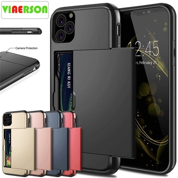 For iPhone 11 Pro Max XS X XR Case Slide Armor Wallet Card Slots Holder Cover For IPhone 7 8 6 6s Plus 5 5s TPU Shockproof Shell image