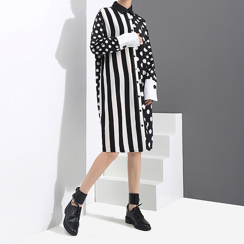 Image 3 - 2020 Korean Style Women Black Shirt Dress Polka Dots Printed & Stripes Long Sleeve Ladies Casual Midi Unique Dress vestidos 3191vestidos fvestidos fashiondress vestidos -