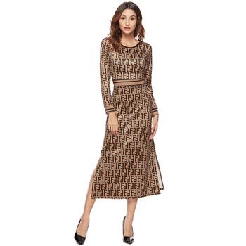 Autumn Spring Long Sleeved Women Dress O-Neck Office Ladies Split Female Party Dresses A-Line Elegant Womens Dress vestido