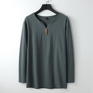 Image 5 - autumn Chinese style T shirt long sleeve Men plus size vintage Tang suit tees oversize linen cotton 8XL 9XL home loose underwear