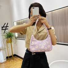 Fashion Flower Daisy Women Handbag Portable Classic Texture Creative Durable Chic Nylon Small Underarm Shoulder Tote Bags(China)
