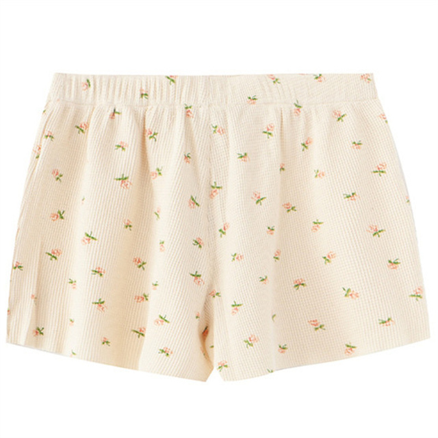 PUWD Y2K Sweet Girls Floral Soft Cotton Shorts 2021 Summer Fashion Ladies High Waist Flower Bottoms Casual Women Chic Shorts 2