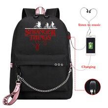 Printing Laptop Backpack Girls Usb Charging Bag Pack Strange