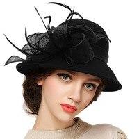 Lady Spring Vintage Fedoras Hat Women Wool Flax Flower Decoration Fedora Cap Female Church Party Elegant Retro Casual Hats H7225