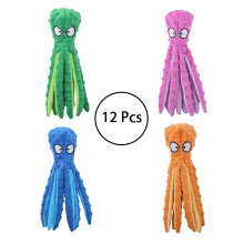 12 Pcs Wholesale 8-Legs Octopus Soft Stuffed Plush Squeaky Dog Squeakers Toy Sounder Paper Frenchbull Collie Spaniel Poodle