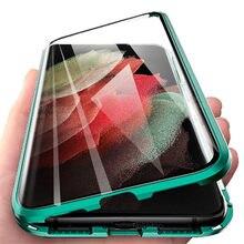 Para samsung s21 ultra caso 360 ° flip magnética capa de telefone para samsung galaxy s21 plus s 21 s21ultra 5g fundas de vidro protetor