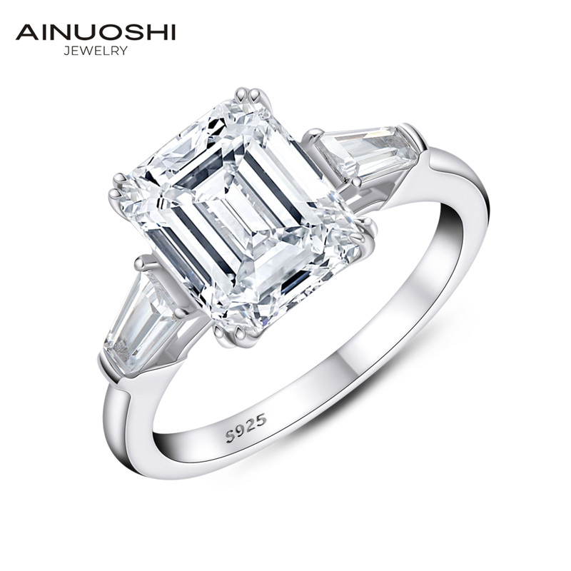 Three-Stone Luxury 8.0 Carat Solid 925 Sterling Silver Wedding Engagement Ring