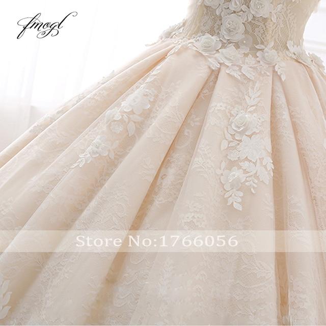 Fmogl Royal Train Sweetheart Ball Gown Wedding Dresses 2021 Appliques Flowers Vintage Lace Bride Gowns Vestido De Noiva 6