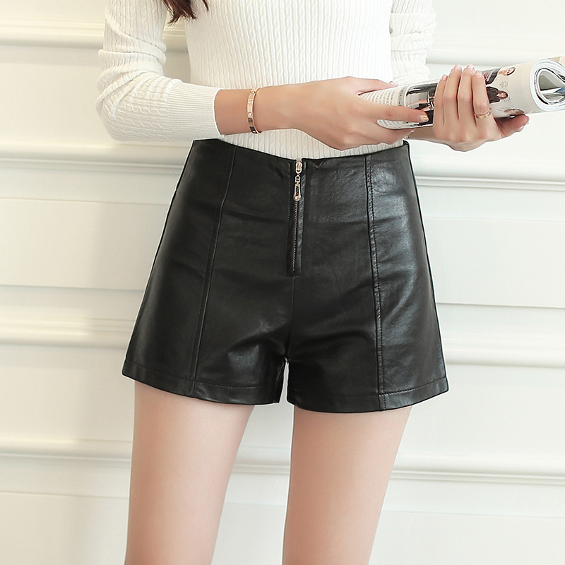 S-2xl Leather Black Shorts Women New Pu Leather Shorts Women For Autumn 2019 Winter High Waist Short Feminino