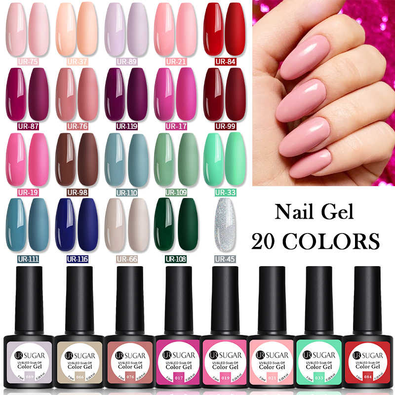 UR Gula 10/20 Buah Gel Nail Polish Set 122 Warna Glitter Warna Semi Permanen UV Led Gel Varnish rendam Off Kuku Lak