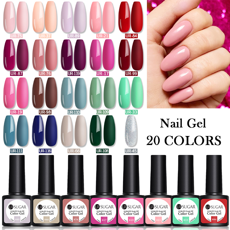 UR SUGAR 20Pcs/Set Color Gel Polish Set 7.5ml UV Gel Semi Permanent Soak Off Base Top Coat Nail Art Manicures Gel Lak Polish