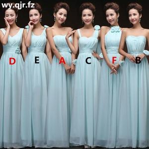 Image 1 - QNZL70Z#V neck Lace Up Chiffon Purple Champagne pink blue Bridesmaid Dresses Long wholesale Custom wedding party dress Flower