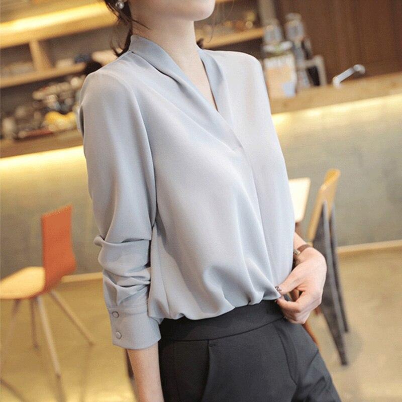2020 Summer Women Chiffon Blouse New Fashion Female Long Sleeve Casual Soild Thin Shirt V-neck Blouses Pullover Tops 8