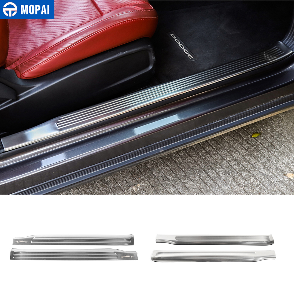 MOPAI Interior Mouldings for Challenger 2015+ Car Door Sill Plate Guards Scuff Cover Accessories for Dodge Challenger 2015+