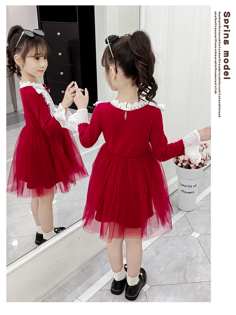 2020 Spring Autumn Teens Kids Cotton Lace Collor Dress for Baby Girls 3-13 years Dress Fashion Cute Long Sleeve Red Mesh Dresses (11)