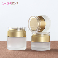 цена на 20pcs/lot  20g 30g 50g  Frosted Glass Cream Jar Empty Bottles Cosmetic Plastic Screw Cap Container   Makeup Containers