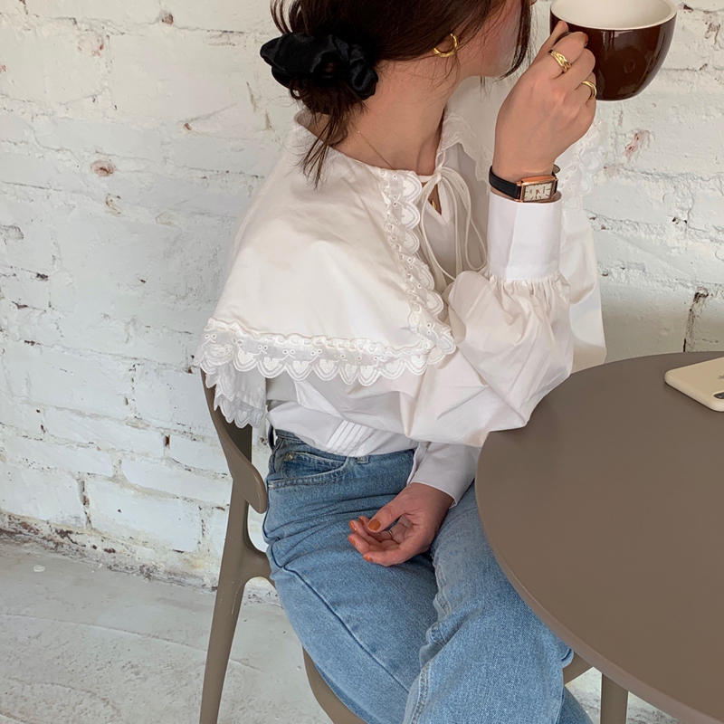 H07b31cf0bd7b4b028b48135e01e0e1d7M - Spring / Autumn Lace-Up Collar Long Sleeves Loose pleated Solid Blouse