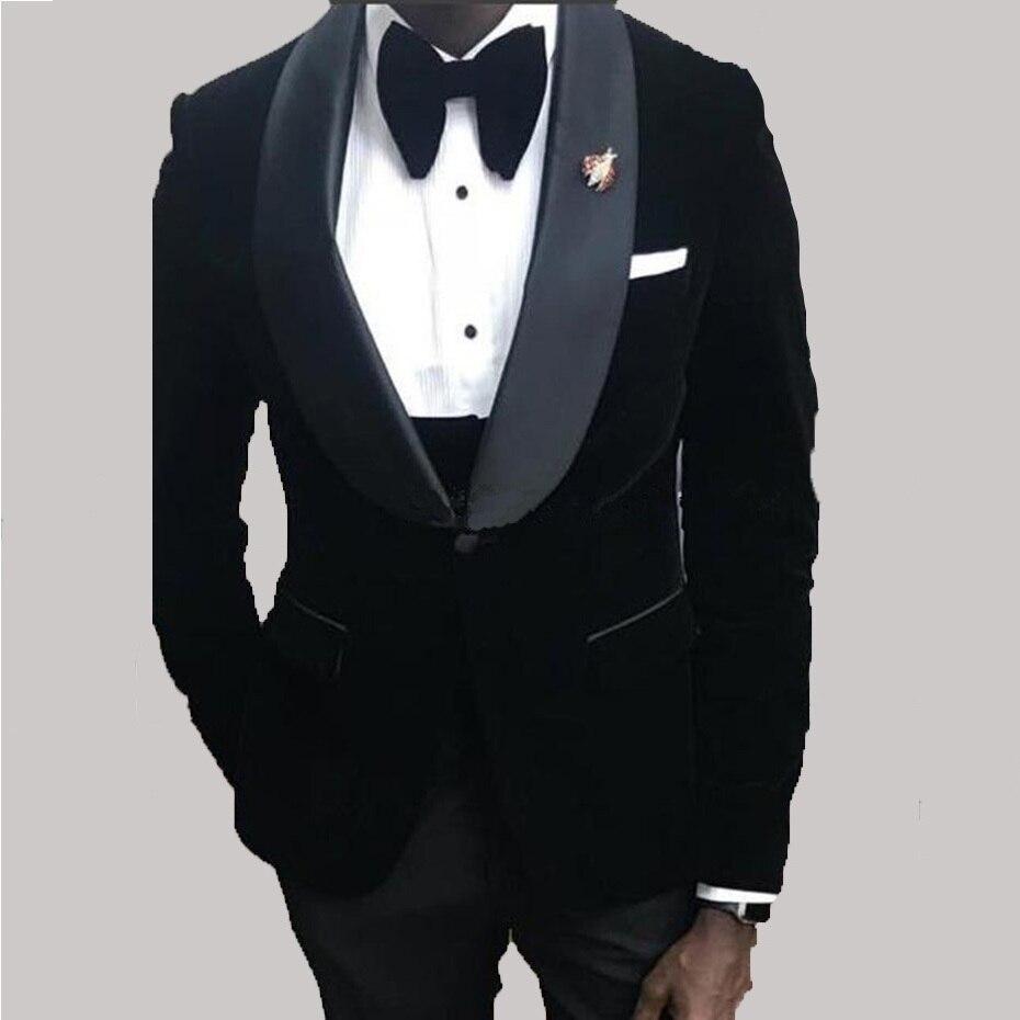 New Popular One Button Black Velvet Men Suits Wedding Groom Tuxedos Shawl Lapel Groomsmen Men Formal Suits (Jacket+Pants+Vest)