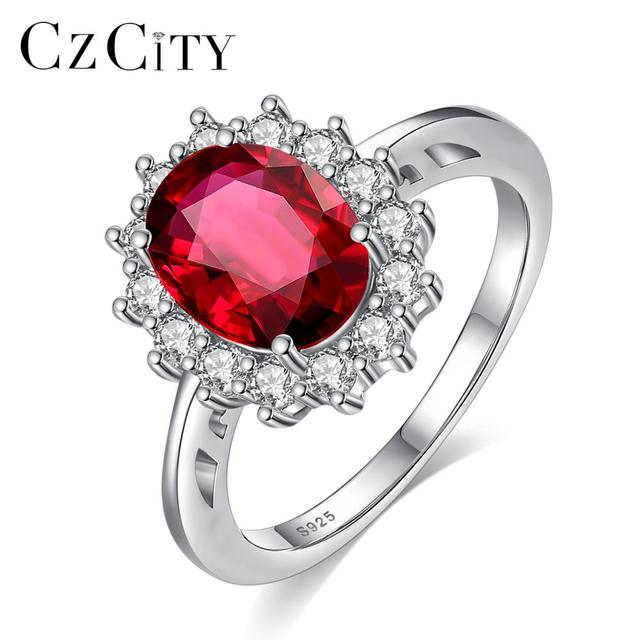 CZCITY Princess Diana William Kate Sapphire Emerald Ruby Gemstone Rings for Women Wedding Engagement Jewelry 925 Sterling Silver 2