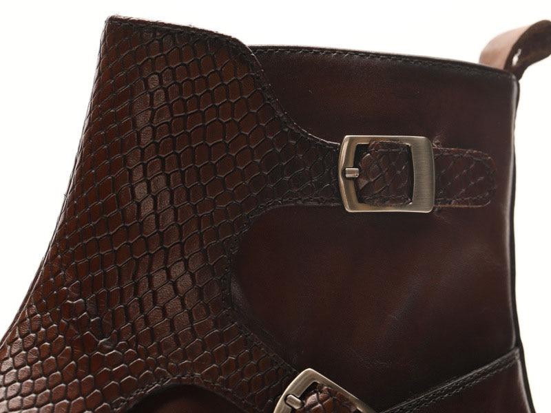 Botas de vestir de cuero genuino para hombres, botas de vestir para hombres, zapatos de hombre británico, con hebilla, botas de trabajo para hombres - 3
