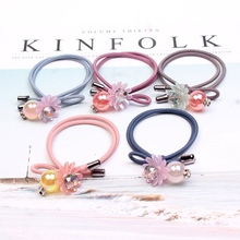 5Pcs/set Cute Flower Rubber Bands For Hair Women Exquisite Rhinestone Girl Beautiful Accessories Ladies