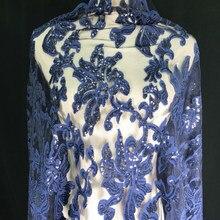 1yard payetler ve işlemeli koyu mavi dantel kumaş afrika DIY elbise malzeme perde masa örtüsü dekorasyon
