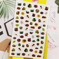 3D наклейки для ногтей насекомое Божья коровка листьев конструкций для нейл-арта украшения из фольги наклейки маникюрные аксессуары, декора...