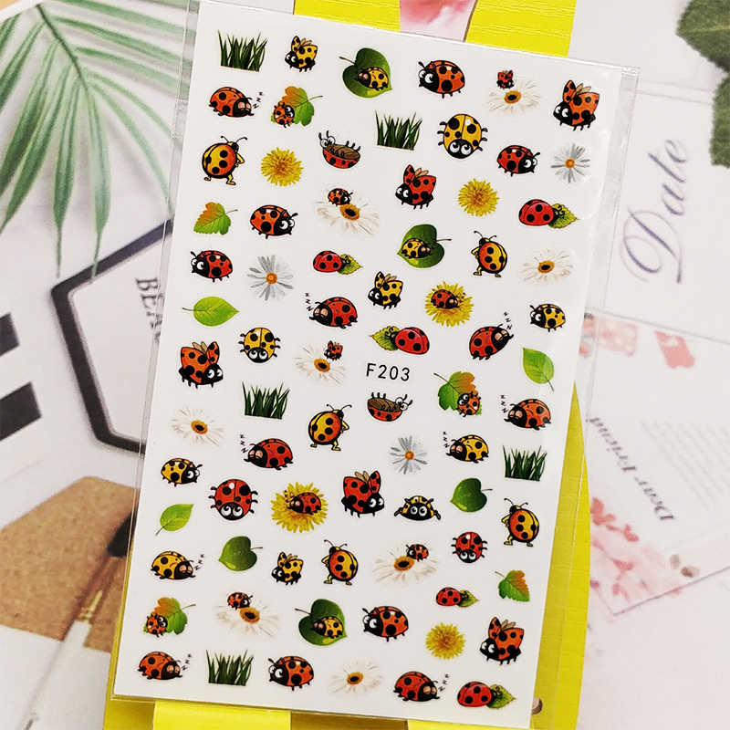 Adesivi 3d Per Unghie Coccinella Disegni Di Foglie Di Insetti Decorazioni Per Nail Art Decalcomanie In Lamina Avvolge Accessori Per Manicure Decoracaldo Stickers Decals Aliexpress