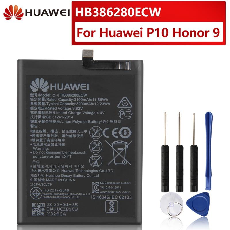 Оригинальная сменная батарея для Huawei Honor 9 P10 Ascend P10 HB386280ECW, стандартная батарея для телефона 3200 мАч