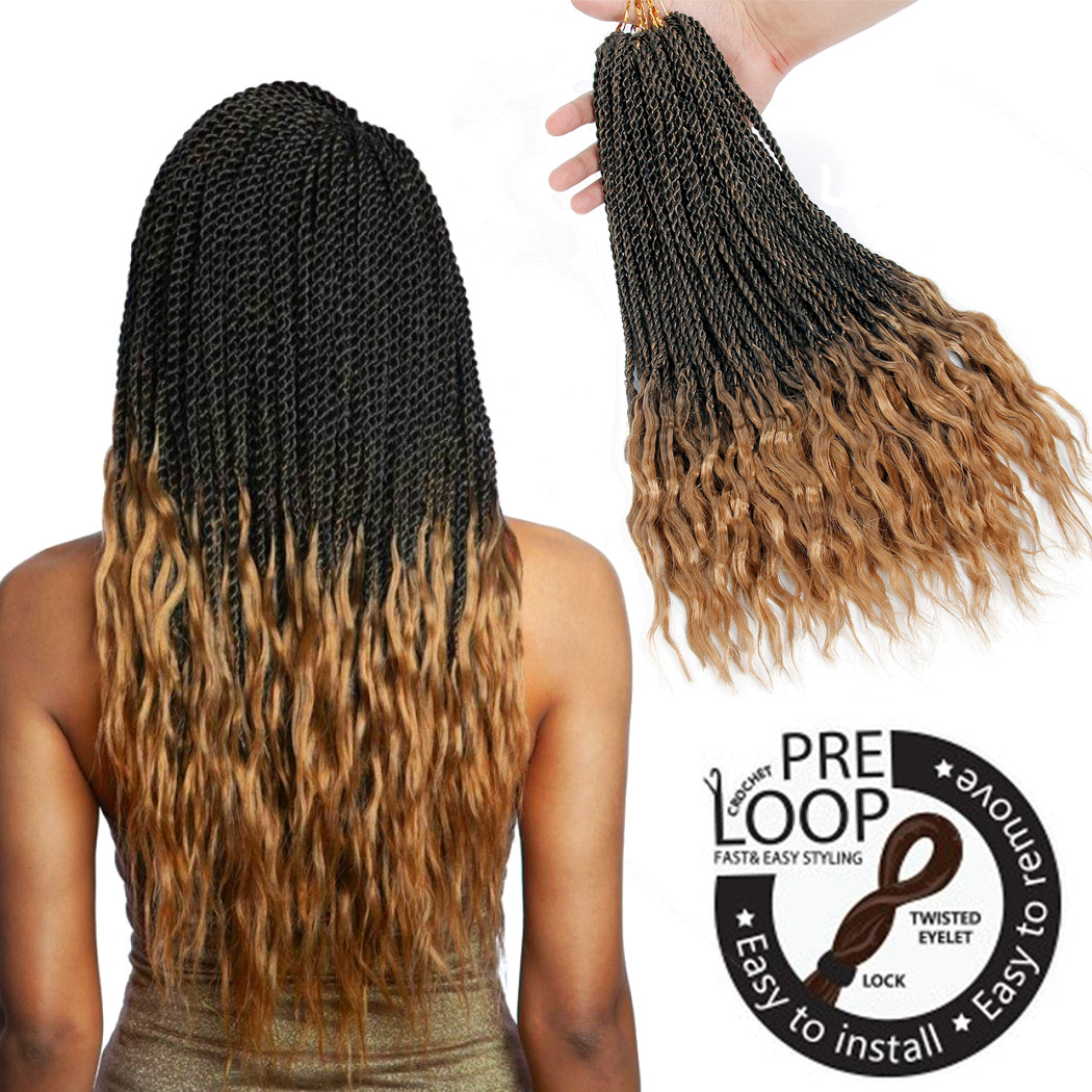 18'' Crochet Twist Braids Ombre Braiding Hair Synthetic Senegalese Braids Curly Crochet Hair Braid