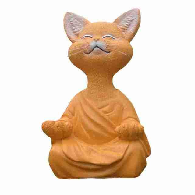 New Black Buddha Cat Figurine Meditation Yoga Collectible Happy Cat Decor Art Sculptures Garden Statues Home Decor 5
