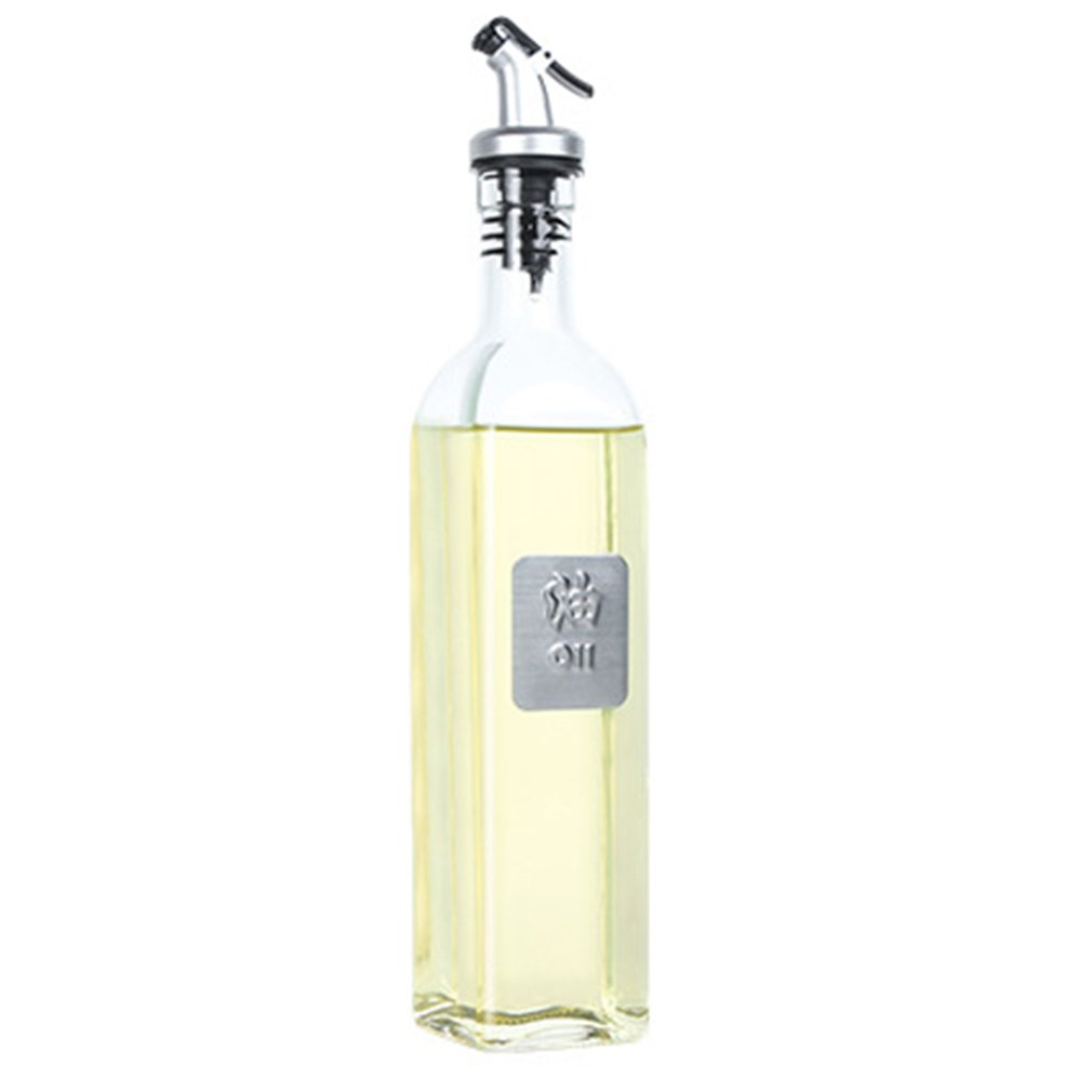 17oz Glass Olive Oil Bottle Set 500ml Oil & Vinegar Cruet with Pourers and Funnel Carafe Decanter for KitchenHot