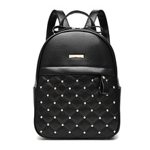 цены Women Backpack Hot Sale Fashion Causal bags High Backpacks Quality bead female shoulder bag PU Leather for Girls mochila