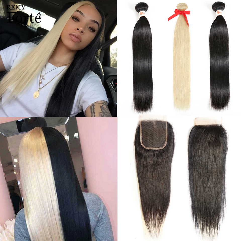 Remy Forte Bundles With Closure 613 Blonde Black Bundles With Closure Brazilian Hair Weave Bundles Straight 3 Bundles Human Hair