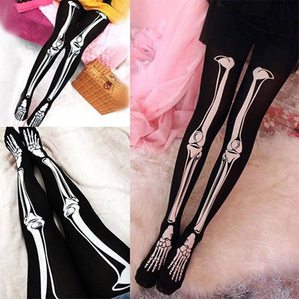 Womens Sexy Black Skeleton Tattoo Socks Pantyhose Stockings Tights Leggings Funny Halloween Tights