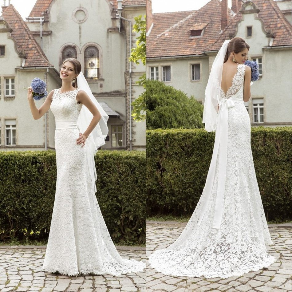 Sexy Backless Vintage 2018 Fashionable Lace Mermaid Bridal Gown With Bow Sashes Vestido De Noiva Mother Of The Bride Dresses