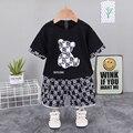 Новое летнее платье для маленьких девочек, комплект одежды из хлопка для мальчиков с медведем из мультфильма, футболка с короткими рукавами...
