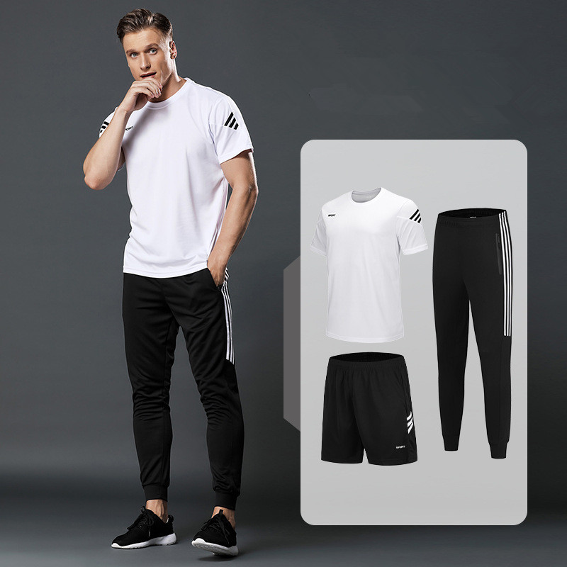 3pcs Set Men's Sportswear Sets Sports Shorts And Men  M-5Xl T-shirts And Men Sweatpants Mens Gym Running Tracksuit Fitness Suits