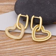 Huggie – boucles d'oreilles en forme de cœur en or/coloré/vert, en cuivre, cubique, manchette, goutte, Simple, cadeau de bijoux, nouvelle mode