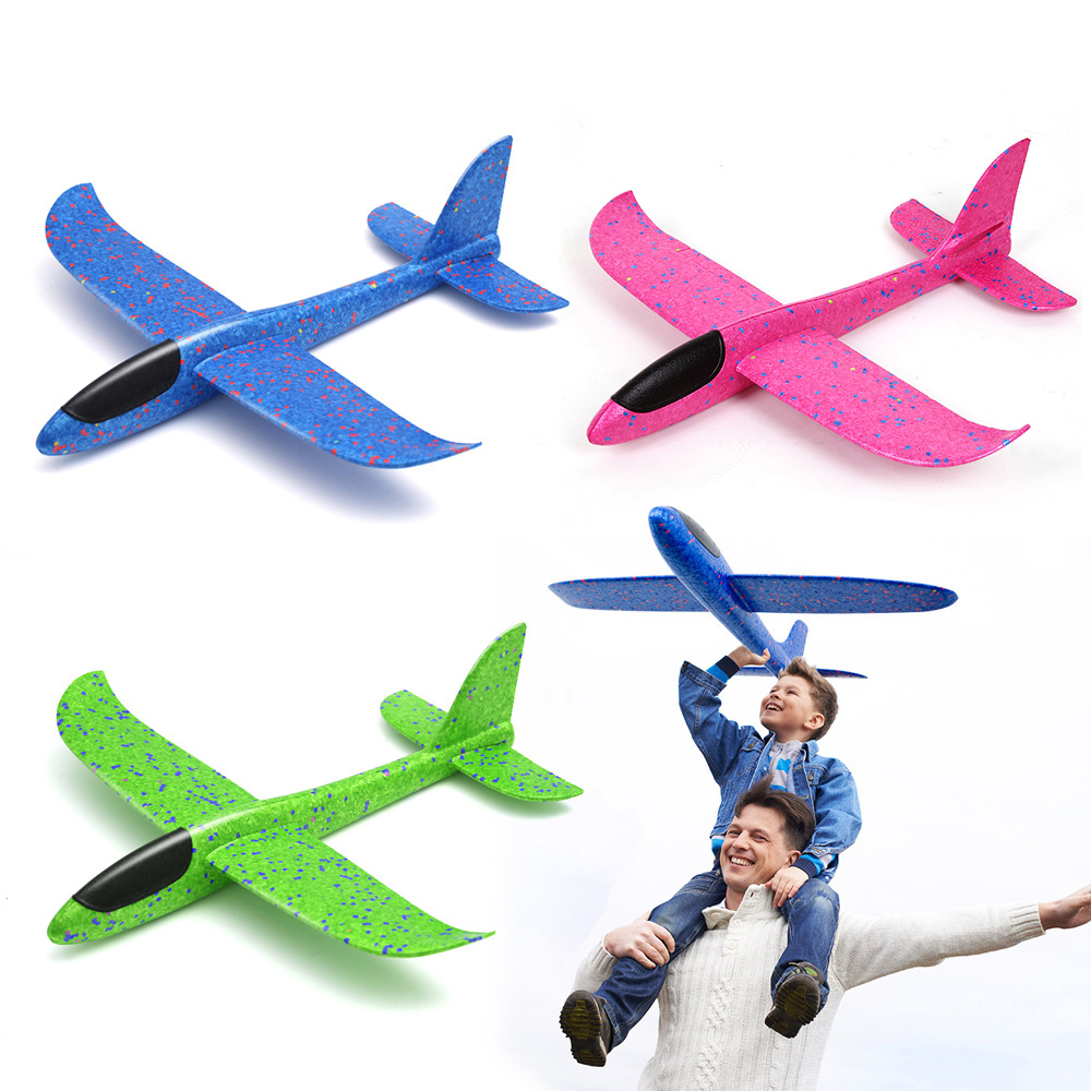 38/48CM Hand Throw Foam Plane Toys Outdoor Launch Glider airplane Kids Gift Toy Free Fly Plane Toys Puzzle Model Jouet(China)
