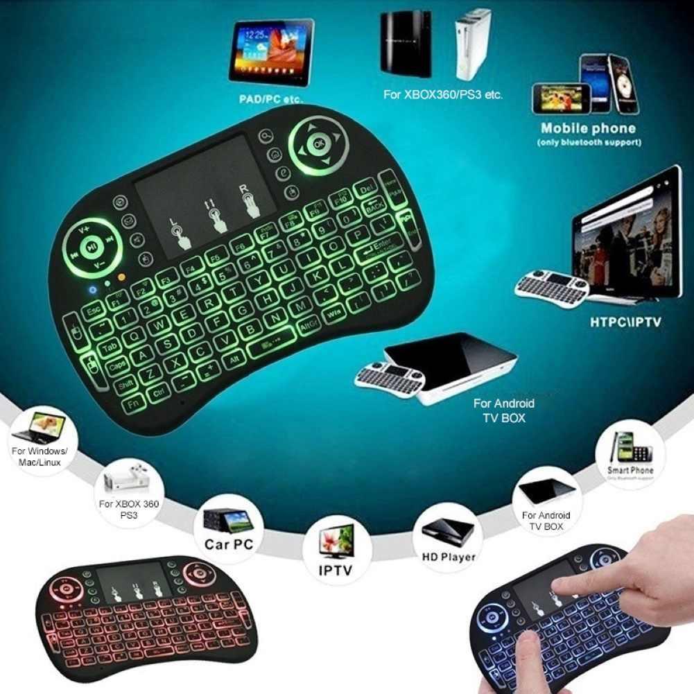 3 renk i8 klavye arkadan aydınlatmalı İngilizce rusça İspanyolca hava fare 2.4GHz kablosuz klavye Touchpad el TV kutusu PC için