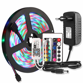 WIFI LED Strip Waterdicht 2835 5M RGB Tape Tira LED Strip 220V Neon Lint Licht + 24Key Remote controller 12V Adapter Set
