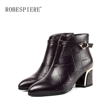 ROBESPIERE Strange Heels Pointed Toe Ankle Boots Woman Metal Buckle Genuine Leather Shoes Warm Plush Large Size Female Boots B62 zvq genuine leather lady plush green ankle boots pointed toe thick 3cm heels 2018 popular elegant concise large size women shoes