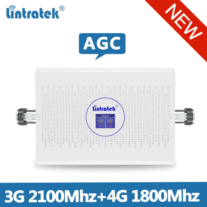 Lintretek 3G 4G Repeater 1800 2100Mhz Signal Booster GSM 1800Mhz Repeater 3G 2100 Booster 4G 1800 Ampli AGC 70dB LTE UMTS