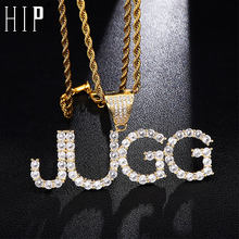 Hip Hop Custom Name Zircon Iced Out Letters Chain Pendants & Necklaces For Men Jewelry Rope Cuban Tennis Chain(China)